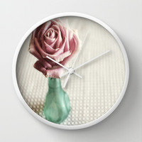 Rose in Green Glass Wall Clock by DuckyB (Brandi)