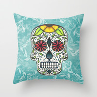 Day Of The Dead (Doodle Skull) Throw Pillow by Jacqueline Maldonado
