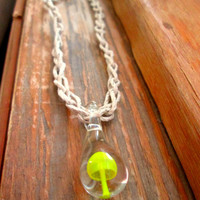 Hemp Necklace Glass Mushroom Necklace Glass Pendant Hemp Necklace Shroom Jewelry Yellow