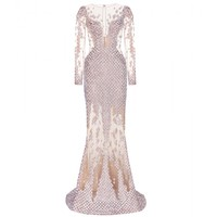 SEQUINNED SILK-BLEND MESH GOWN
