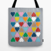 Diamond Hearts on Grey Tote Bag by Project M