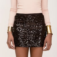 Black Sequined Mini Skirt- Found on Bib + Tuck