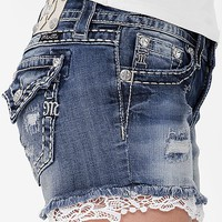 Miss Me Lace Trim Stretch Short