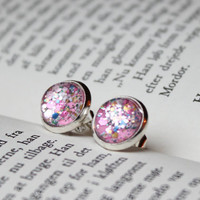 Pink earings 12mm with multi color chunky glitter nail polish jewelry- glitter earrings- nail polish earings - rosa glitzer Ohrringe