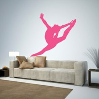 "Gymnastics Silhouette Style - 13 Graceful Leap - Hot Pink - 18""W x 17""H - Peel and Stick Wall Decal by Wallmonkeys"