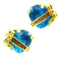 Juicy Couture Heart Banner Stud Earrings, Blue/Gold