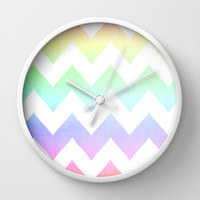 Watercolor Chevrons Wall Clock by CMcDonald