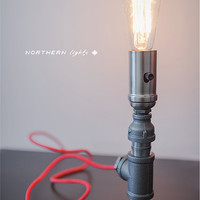 Handmade, Iron Pipe Table Lamp - Industrial Piping Light - Vitnage Pipe Lamp - E26 Edison Bulb - Red Cord - Modern Design -Made in Canada