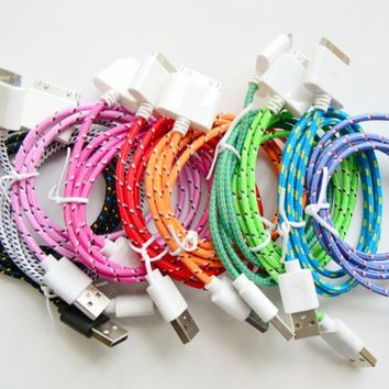 Magic-T 10 Pack of 6ft/2m Colorful Durable Braided Nylon Flat Noodle USB 2.0 Data Sync Cable Charging for iPhone 3G 3GS 4 4S iPod 2 3 4 iPad 1 2 3