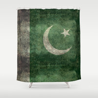 The National Flag of Pakistan - Vintage Version Shower Curtain by LonestarDesigns2020 - Flags Designs +