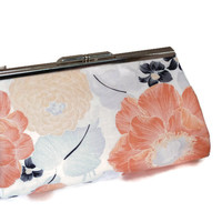 Peach and Pink Floral Clutch