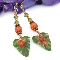 Brass Tropical Leaves Handmade Earrings Czech Glass Swarovski Jewelry | ShadowDogDesigns - Jewelry on ArtFire
