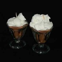 A Pair of Chocolate Ice Cream Sundae Handmade Candles Vanilla Topping | shymouseecrafts - Candles on ArtFire