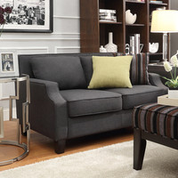 Inspire Q 'Ellyson' Dark Grey Sloped Track Arm Loveseat