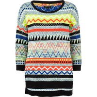 Black multicoloured tribal jumper - knitwear - sale - women