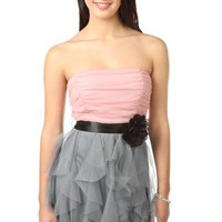 Strapless Ruffled Two Tone