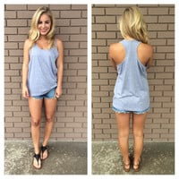 Heather Grey T-Back Cotton Tank