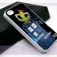 Iphone Case - Iphone 4 Case - Iphone 5 Case - Samsung s3 - samsung s4 - Peterpan Tardis Never Grow up - Photo Print on Hard Plastic