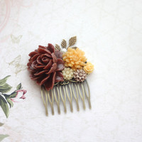 Shabby Dark Rust Brown, Yellow Mustard, Brown Ivory, Pearl, Sprig Brass Leaf, Bridesmaid Gift. Wedding Hair Comb. Mustard and Maroon Wedding