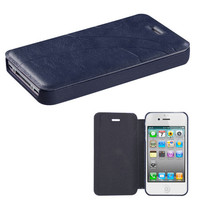 Book-Style Embossed Leather Flip Cover for iPhone 4 / 4S - Dark Blue