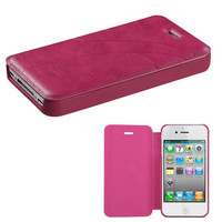 Book-Style Embossed Leather Flip Cover for iPhone 4 / 4S - Hot Pink