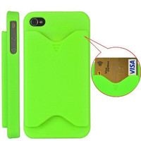 Credit Card Case for Apple iphone 4 / 4S - Green *Clearance Sale