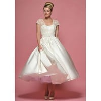 Taffeta and Lace Short Sleeve Ball Gown Wedding Dress