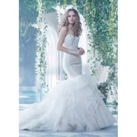 Charming Sweep Mermaid Sweetheart Neckline Backless Organza Backless Wedding Dress