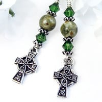 Celtic Cross Earrings Rainforest Jasper Sparkly Green Crystal Handmade | PrettyGonzo - Jewelry on ArtFire