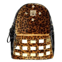 ZLYC Fashion Leopard Leatherette Studded Backpack