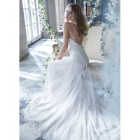 Noble Vintage Sweep A-line V-neck Backless Lace Wedding Dress