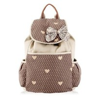 Bowknot Polka Dots Love Heart Backpack Rucksack Shoulder School Bag