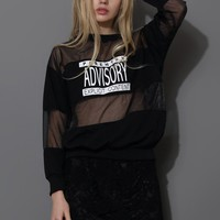 Black Print Sweat Mesh Top