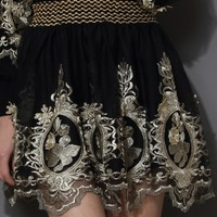 Baroque Golden Embroidery Skater Skirt
