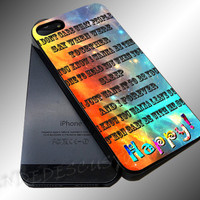 One Direction 1D Happily Lyrics - iPhone 4/4s/5c/5s/5 Case - Samsung Galaxy S3/S4 Case iPod 4/5 Case - Black or White