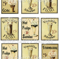 Vintage Ice Cream Signs Collage Sheet