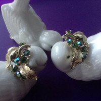 Lisner Rhinestone Earrings Blue/Green AB Stones Leaf goldtone clip-ons vintage sparkling goldtone dressy wedding prom festive jewelry gift