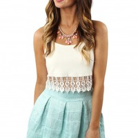 Mint Pleated Flare Skirt