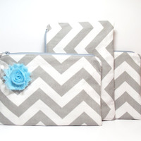 Chevron Clutch Purse - Chevron - Gray Aqua - Shabby Rose Flower - Bridal Wedding Clutch