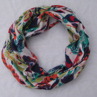 Monogrammed Multi-Colored Feather Infinty Scarf