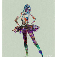 Ballerina Watercolor Print by NaxArt at Art.com