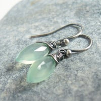 Aqua Green Chalcedony Earrings, Oxidized Sterling Silver, Marquise Stone Wire Wrapped Jewelry