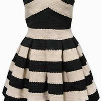 Black and Being Sleeveless Striped Body Con Skater Dress #stripes #blackandbeige #strapless #skaterskirt #skaterdress #partydress #bodycon #