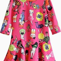 Pink Casual Shift w/ Harajuku Fashion Cats Print #dress #print #graphic #harajuku #cats #shift #daydress #cute #critters
