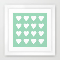16 Hearts Mint Framed Art Print by Project M