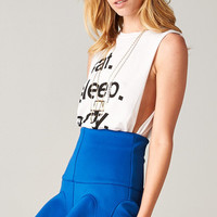ROYAL BLUE FLARED SKIRT WITH RUFFLE