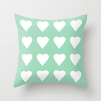16 Hearts Mint Throw Pillow by Project M