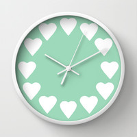 16 Hearts Mint Wall Clock by Project M