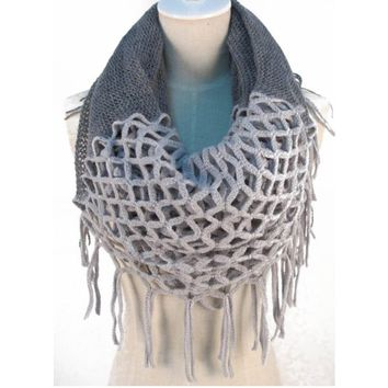 Hotportgift Winter Warm Knitting Scarf Infinity Tassels Scarf for Woman Multicolors