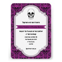 Skulls damask purple, black Halloween wedding